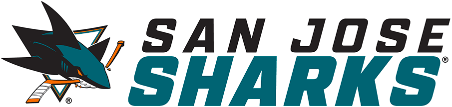 San Jose Sharks Logo Wordmark Logo (2020/21-Pres) - For the 2020-21 NHL season, the San Jose Sharks introduced a new wordmark logo, a much more simplified look compared to what it replaced. The entire name of the team presented in Italics with a modified sans serif style font. SAN JOSE appears in black above SHARKS in teal. Presented here below the San Jose Sharks primary logo of the era to the left SportsLogos.Net