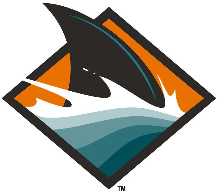 San Jose Sharks Logo Alternate Logo (2007/08) - Black shark fin inside an orange diamond with teal waves. All shades of teal were lightened for the 2008-09 season SportsLogos.Net