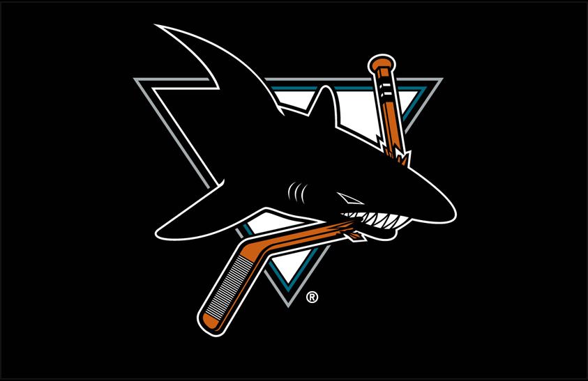San Jose Sharks Logo Primary Dark Logo (1998/99-2006/07) - San Jose Sharks primary logo on black SportsLogos.Net