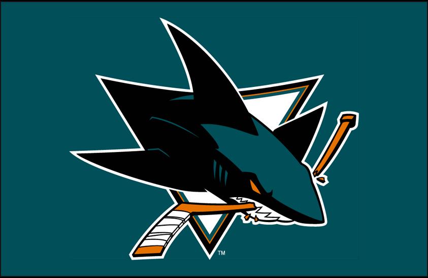 San Jose Sharks Logo Primary Dark Logo (2007/08) - San Jose Sharks primary logo on teal SportsLogos.Net