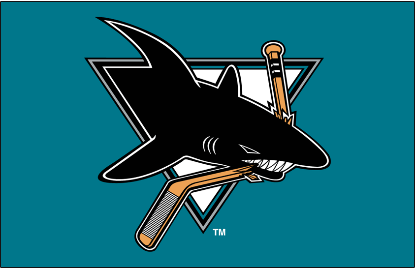 San Jose Sharks Logo Primary Dark Logo (1991/92-1997/98) - San Jose Sharks primary logo on teal SportsLogos.Net