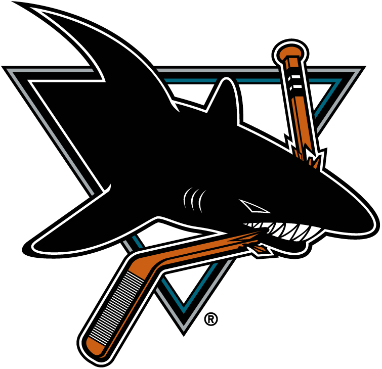 San Jose Sharks Logo Primary Logo (1998/99-2006/07) - Shark chomping on a hockey stick -- colour of the hockey stick changed for the 1998-99 season SportsLogos.Net