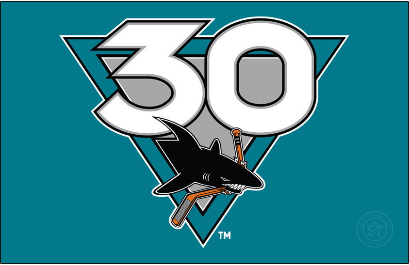 San Jose Sharks Logo Anniversary Logo (2020/21) - To celebrate their 30th anniversary, the San Jose Sharks wore this commemorative logo on their uniforms. The design featured the number 30 in white with black trim on a teal and silver triangle, at the bottom of the logo is the San Jose Sharks original expansion season logo from 1991. SportsLogos.Net