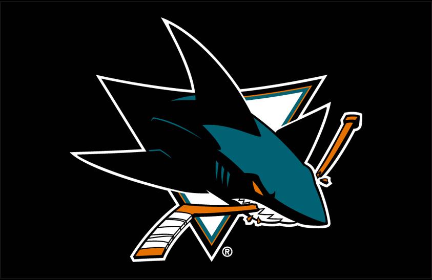San Jose Sharks Logo Primary Dark Logo (2008/09-Pres) - San Jose Sharks primary logo on black SportsLogos.Net