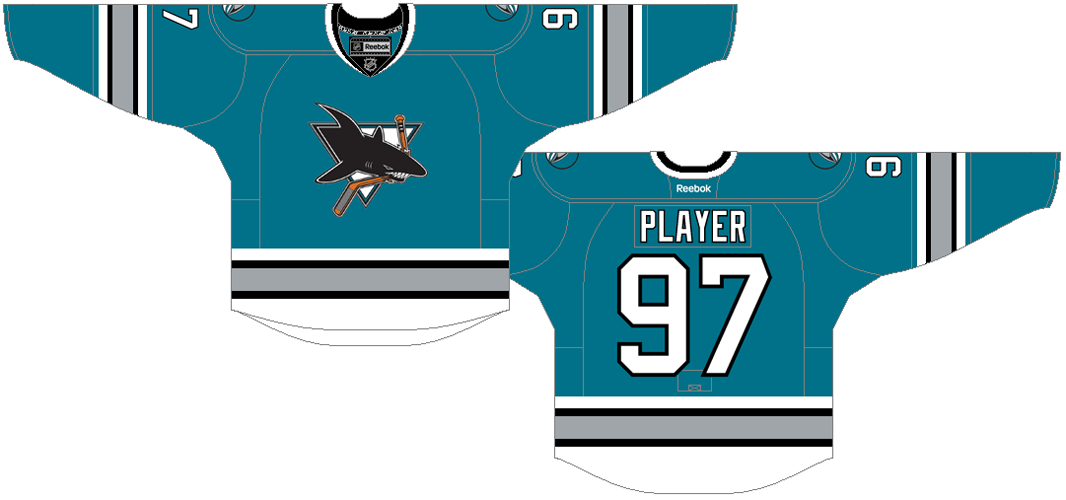 San Jose Sharks Uniform Special Event Uniform (2015/16) - San Jose Sharks throwback jersey to celebrate the franchise's 25th Anniversary in the NHL. SportsLogos.Net