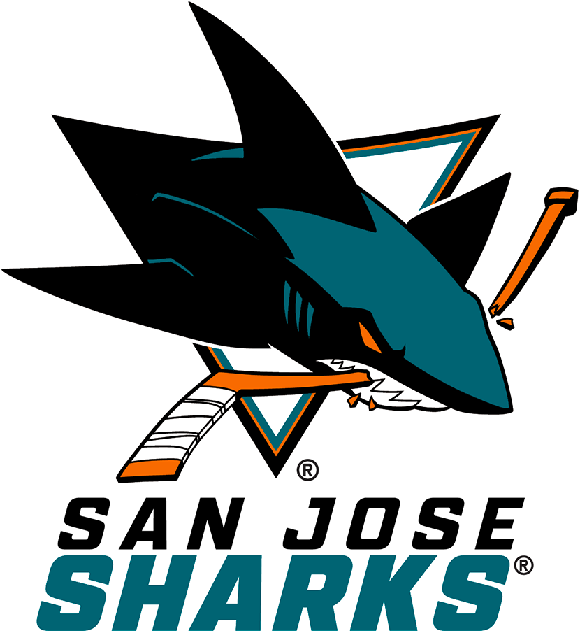 San Jose Sharks Logo Wordmark Logo (2020/21-Pres) - For the 2020-21 NHL season, the San Jose Sharks introduced a new wordmark logo, a much more simplified look compared to what it replaced. The entire name of the team presented in Italics with a modified sans serif style font. SAN JOSE appears in black above SHARKS in teal. Presented here below the San Jose Sharks primary logo of the era SportsLogos.Net
