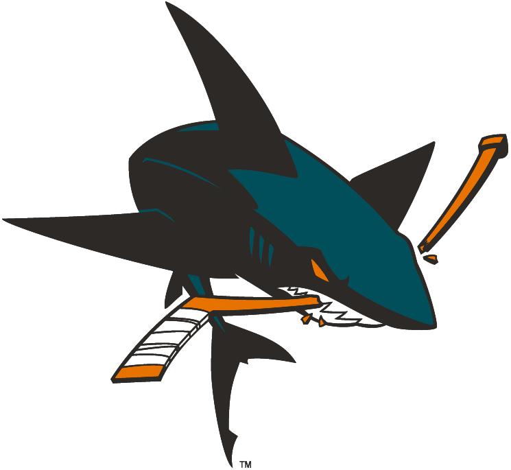 San Jose Sharks Logo Alternate Logo (2007/08) - Full-body shark chomping stick, shade of teal lightened for 2008-09 season SportsLogos.Net