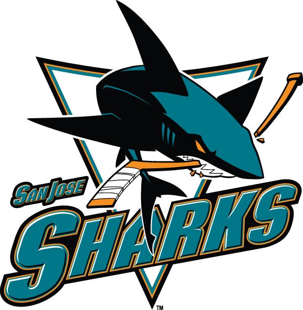 San Jose Sharks Logo Wordmark Logo (2007/08-2019/20) - Full-body shark chomping stick with wordmark SportsLogos.Net