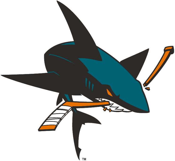 San Jose Sharks Logo Alternate Logo (2008/09-2019/20) - Full-body shark chomping stick, shade of teal lightened for 2008-09 season SportsLogos.Net