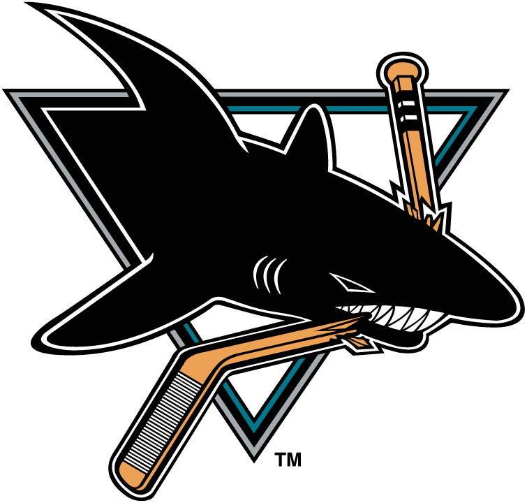 San Jose Sharks Logo Primary Logo (1991/92-1997/98) - A black shark inside a triangle chomping a hockey stick, the colour of the hockey stick was changed for the 1998-99 season. SportsLogos.Net