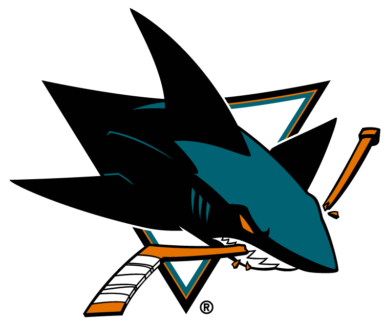 San Jose Sharks Logo Primary Logo (2008/09-Pres) - A black, teal and orange shark chomping a hockey stick in a triangle. Shade of teal was lightened for the 2008-09 season SportsLogos.Net
