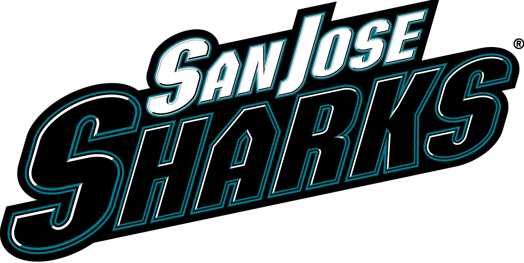 San Jose Sharks Logo Wordmark Logo (2007/08-2019/20) - 'Sharks' in black and teal with 'San Jose' above in white SportsLogos.Net