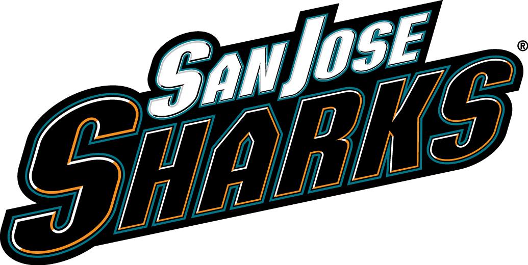 San Jose Sharks Logo Wordmark Logo (2007/08-2019/20) - 'Sharks' in black and orange with 'San Jose' above in white SportsLogos.Net