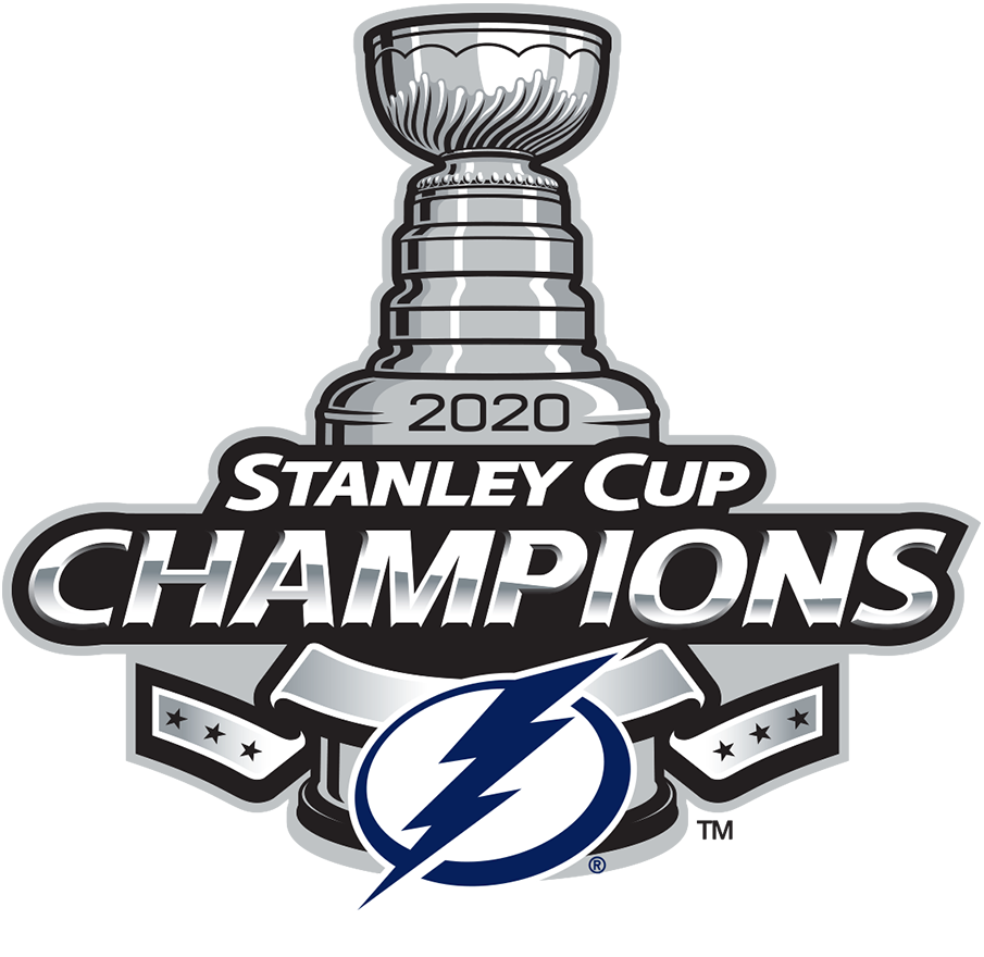 Tampa Bay Lightning Logo Champion Logo (2019/20) - The Tampa Bay Lightning 2020 Stanley Cup Champions logo. It follows the same template as the league's Stanley Cup Championship logo in use since 2013, a Stanley Cup in silver with
