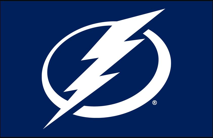 Tampa Bay Lightning Logo Primary Dark Logo (2011/12-Pres) - Tampa Bay Lightning primary logo on blue SportsLogos.Net
