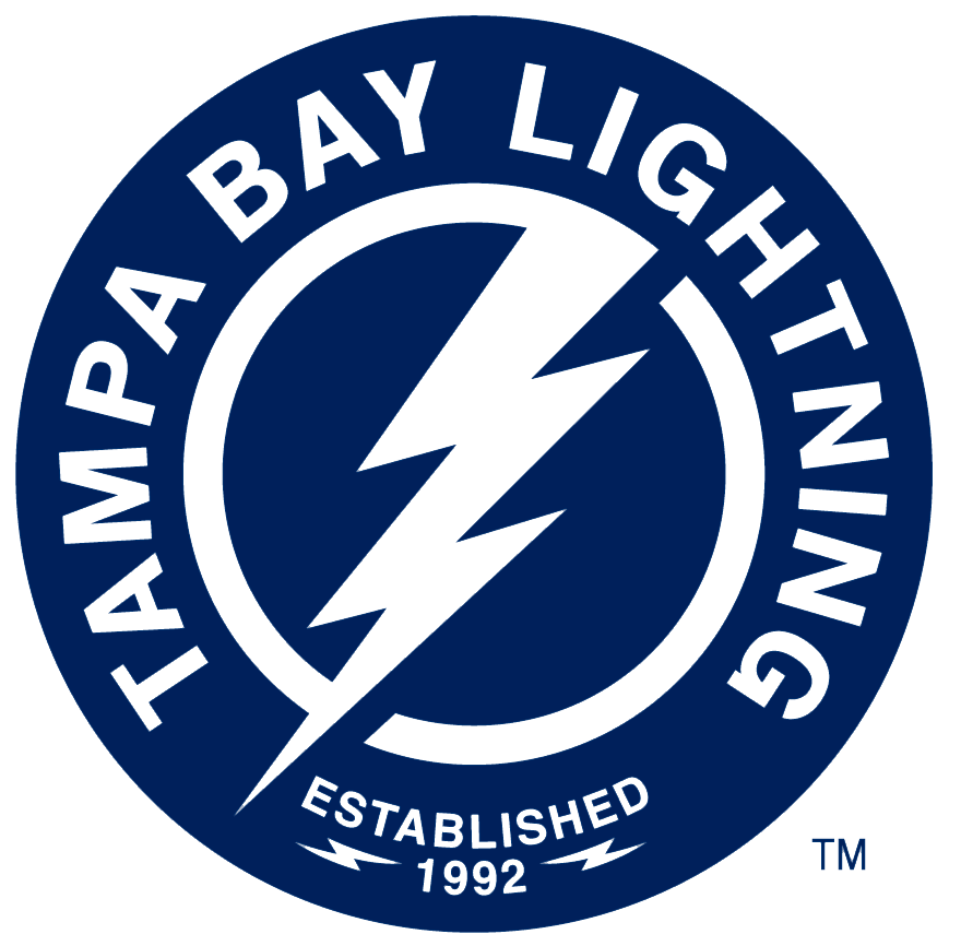 Tampa Bay Lightning Logo Alternate Logo (2018/19-Pres) - Lightning bolt inside blue circle with team name surrounding it and EST 1992 below SportsLogos.Net