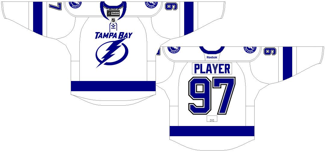 Tampa Bay Lightning Uniform Light Uniform (2011/12-2016/17) - White and blue uniform with lightning bolt and Tampa Bay script logo on chest, blue and black numbers on back. SportsLogos.Net