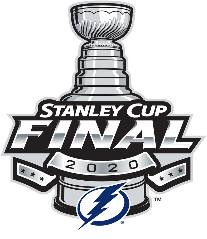 Tampa Bay Lightning Logo Event Logo (2019/20) - To celebrate their 2020 Eastern Conference championship and subsequent appearance in the 2020 Stanley Cup Final, the NHL released this Tampa Bay Lightning branded version of their usual Stanley Cup Final logo dated 2020. It follows the usual template used by the league since 2013 showing the Cup with a banner of six stars across it, the Tampa Bay Lightning primary logo below. SportsLogos.Net