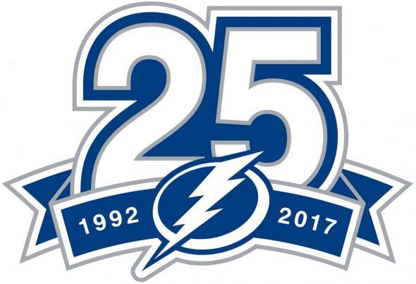 Tampa Bay Lightning Logo Anniversary Logo (2017/18) - Tampa Bay Lightning 25th anniversary logo SportsLogos.Net