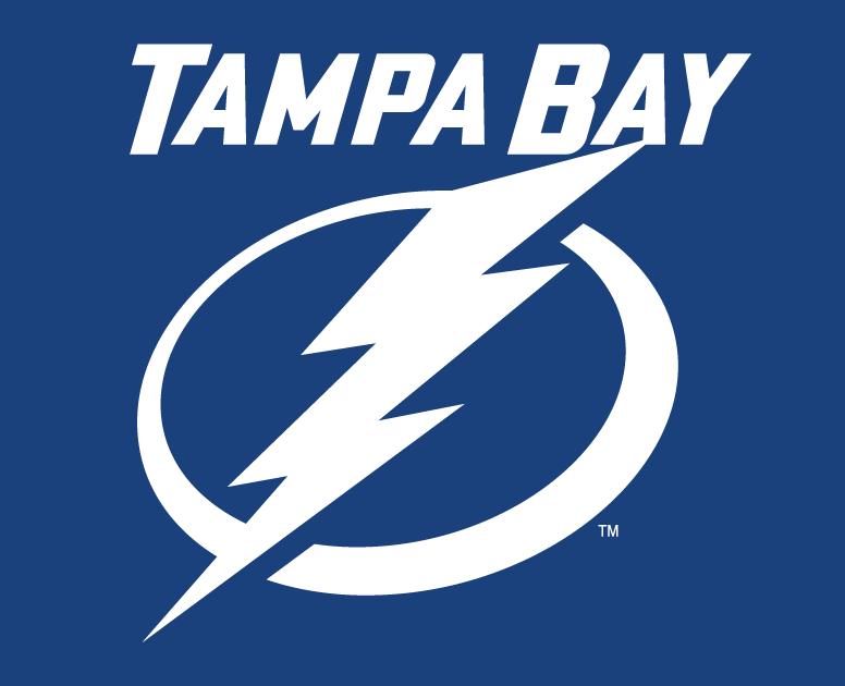 Tampa Bay Lightning Logo Wordmark Logo (2011/12-Pres) - White lightning bolt in a white circle below TAMPA BAY in white on blue SportsLogos.Net