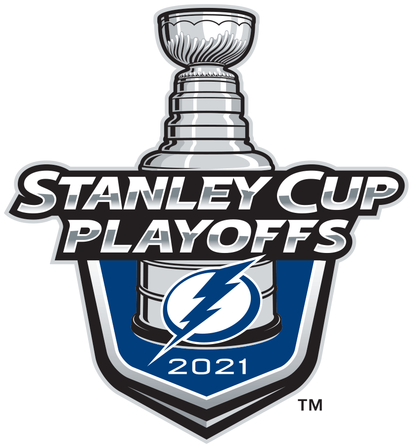 Tampa Bay Lightning Logo Event Logo (2020/21) - The Tampa Bay Lightning 2021 Stanley Cup Playoffs logo features the Bolts blue and white lightning bolt logo on a blue shield with STANLEY CUP PLAYOFFS written above in silver and 2021 below in white. A depiction of the top-half of the Stanley Cup can be seen above the shield. This logo is used by the Tampa Bay Lightning on various materials throughout their participation in the 2021 NHL Stanley Cup Playoffs. SportsLogos.Net