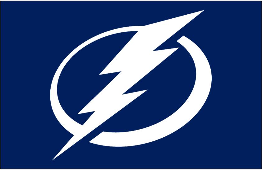 Tampa Bay Lightning Logo Jersey Logo (2011/12-Pres) - White lightning bolt in a white circle on blue SportsLogos.Net