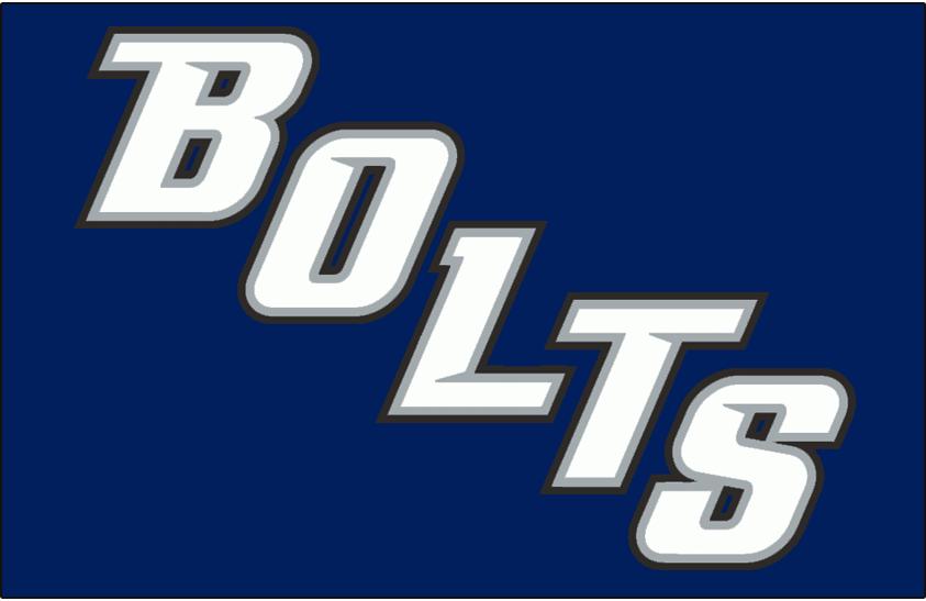 Tampa Bay Lightning Logo Jersey Logo (2008/09-2013/14) - BOLTS in white, silver, and black on blue. Worn on Tampa Bay Lightning alternate jersey from 2008-09 until 2013-14 SportsLogos.Net