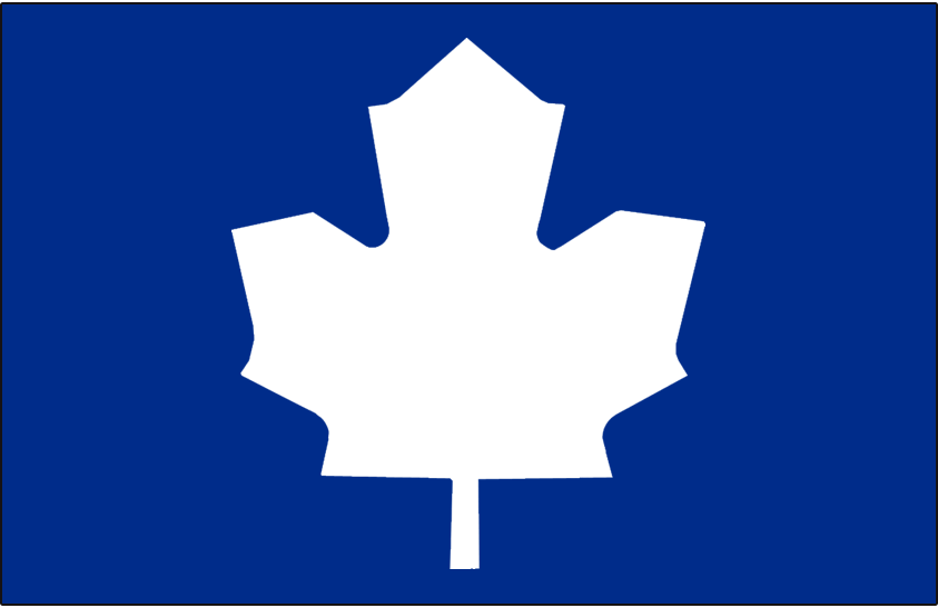 Toronto Maple Leafs Logo Alt on Dark Logo (1970/71-1981/82) - Blank white leaf on blue, worn on the shoulder of the Toronto Maple Leafs home jersey from 1970-71 through 1981-82, replaced with a modernized leaf SportsLogos.Net