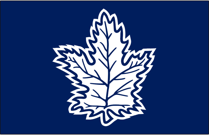 Toronto Maple Leafs Logo Alt on Dark Logo (1992/93-1999/00) - A white maple leaf with blue details on blue background, was worn as the shoulder patch on the team's white road jerseys from 1993-2000. SportsLogos.Net