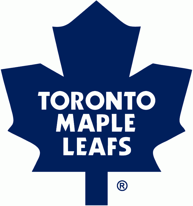 Toronto Maple Leafs Logo Primary Logo (1987/88-2015/16) - Blue 11-point maple leaf with the team name inside in white, shade of blue darkened prior to the 1987-88 sesaon SportsLogos.Net