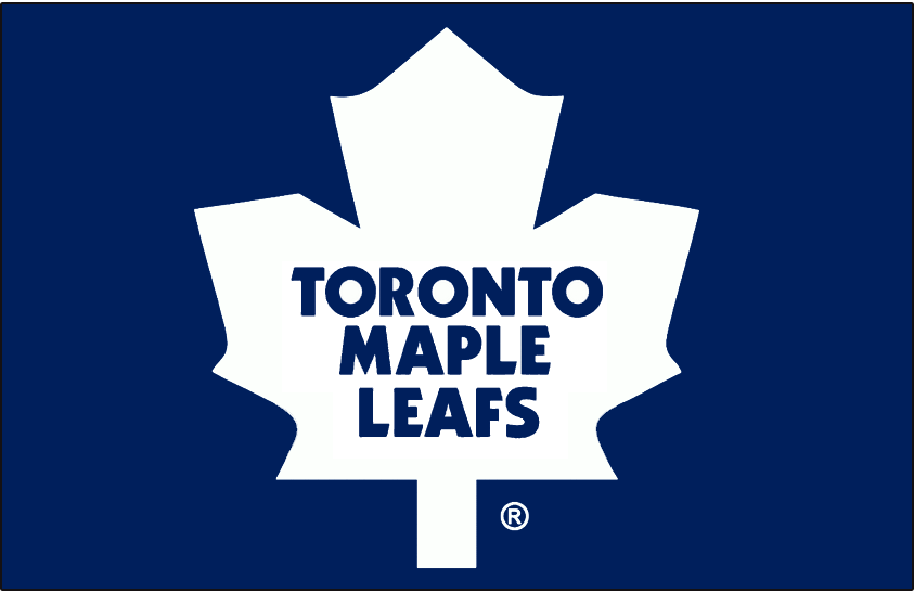 Toronto Maple Leafs Logo Jersey Logo (1987/88-2015/16) - Modern maple leaf in white on dark blue, worn on Toronto Maple Leafs road blue jersey from 1988 through 2003, and their home blue jersey since 2004 SportsLogos.Net