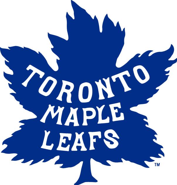 Toronto Maple Leafs Logo Primary Logo (1927/28-1937/38) - Blue maple leaf with team name inside in white SportsLogos.Net