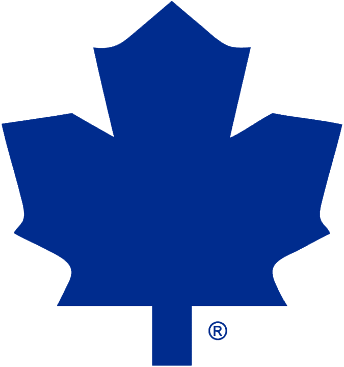 Toronto Maple Leafs Logo Alternate Logo (1982/83-1986/87) - Blank blue leaf on white, worn on the shoulder of the Toronto Maple Leafs road jersey from 1982-83 through 1986-87, shade of blue is darkened for 1988 SportsLogos.Net