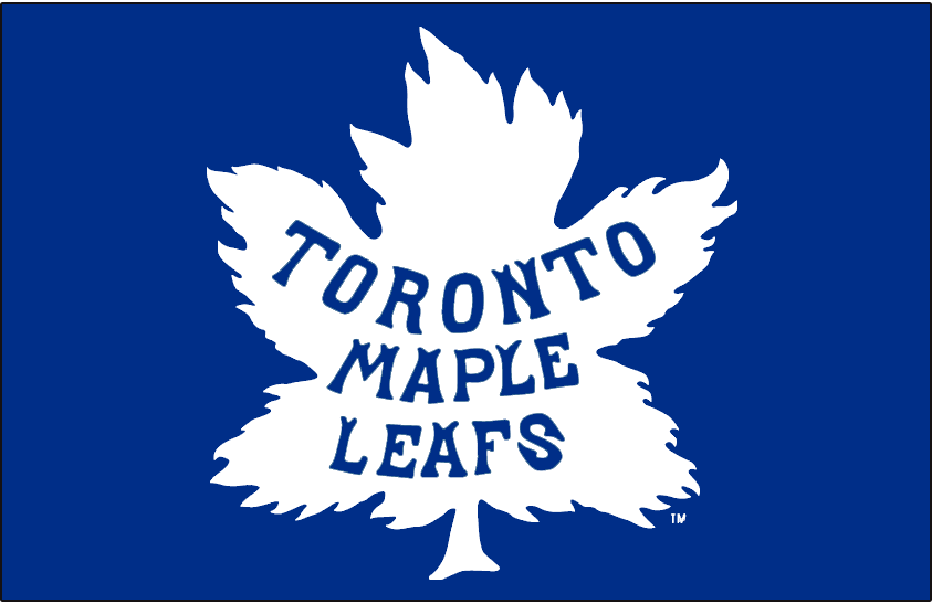 Toronto Maple Leafs Logo Jersey Logo (1927/28-1933/34) - Maple leaf logo in white on blue jersey, worn on Toronto Maple Leafs home uniform from 1928 through 1934 seasons and again in 1937-38 SportsLogos.Net