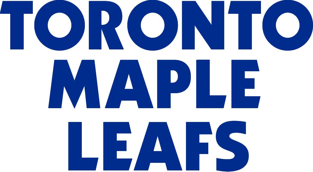 Toronto Maple Leafs Logo Wordmark Logo (1970/71-1986/87) - TORONTO MAPLE LEAFS stacked in blue SportsLogos.Net