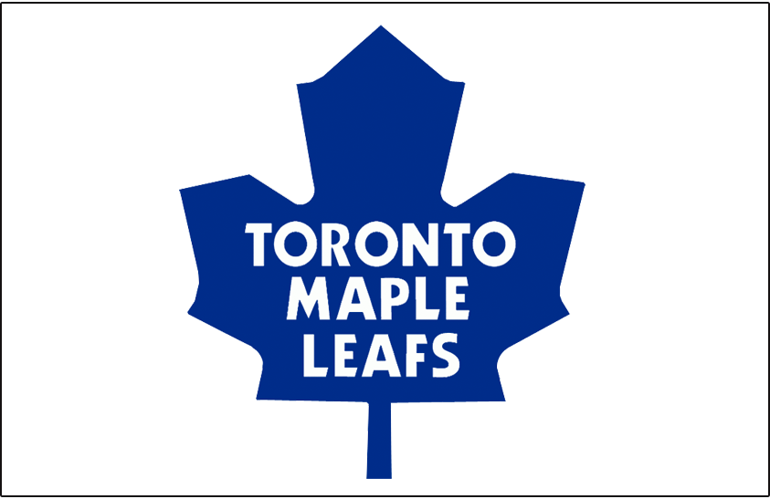 Toronto Maple Leafs Logo Jersey Logo (1970/71-1981/82) - Blue rounded-style modern maple leaf on white jersey, worn on front of Toronto Maple Leafs home white jersey from 1971 until 1982 SportsLogos.Net