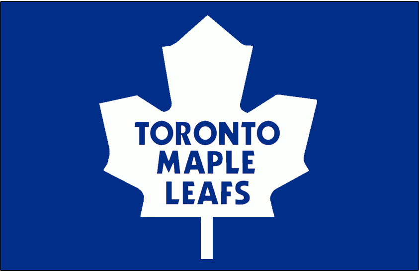 Toronto Maple Leafs Logo Jersey Logo (1970/71-1981/82) - White rounded-style modern maple leaf on blue jersey, worn on front of Toronto Maple Leafs road blue jersey from 1971 until 1982 SportsLogos.Net