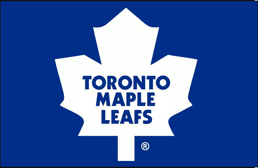 Toronto Maple Leafs Logo Jersey Logo (1982/83-1986/87) - White modern maple leaf in a lighter shade of blue, worn on Toronto Maple Leafs blue road jersey from 1982-83 through 1986-87 SportsLogos.Net