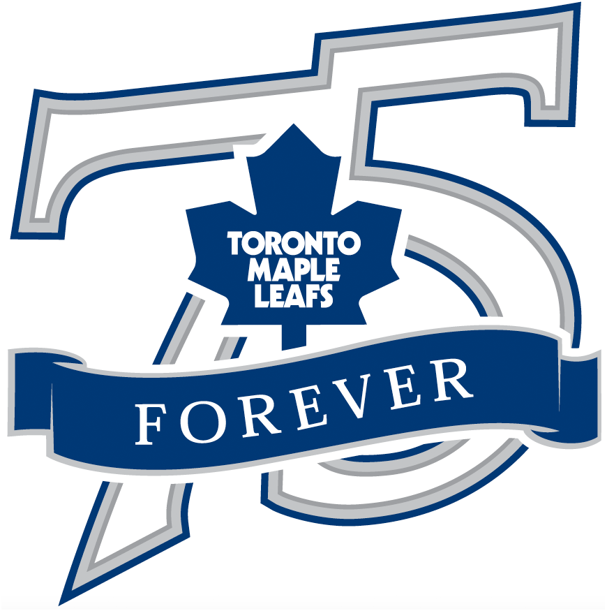 Toronto Maple Leafs Logo Anniversary Logo (2001/02) - Toronto Maple Leafs 75th Anniversary Logo, used to mark the 75th anniversary of the team being re-named Maple Leafs from St Pats in 1927 SportsLogos.Net