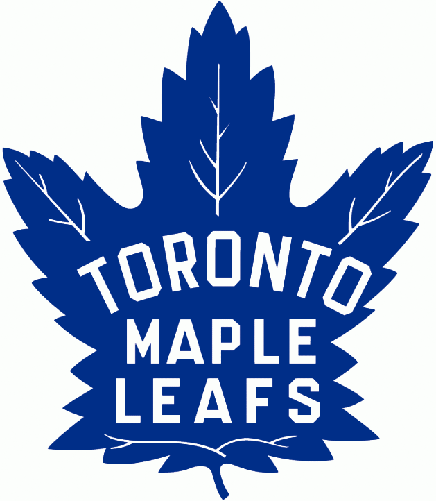 Toronto Maple Leafs Logo Primary Logo (1938/39-1962/63) - Blue 35-point maple leaf with team name inside in white. SportsLogos.Net