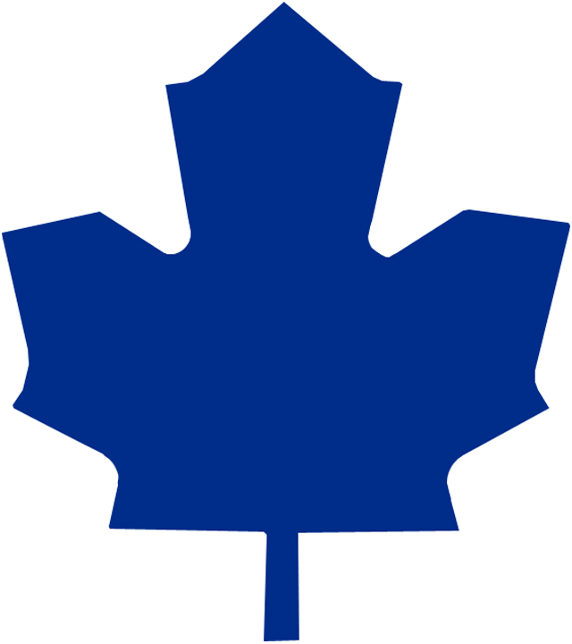 Toronto Maple Leafs Logo Alternate Logo (1970/71-1981/82) - Blank blue leaf on white, worn on the shoulder of the Toronto Maple Leafs road jersey from 1970-71 through 1981-82, replaced with a modernized leaf SportsLogos.Net