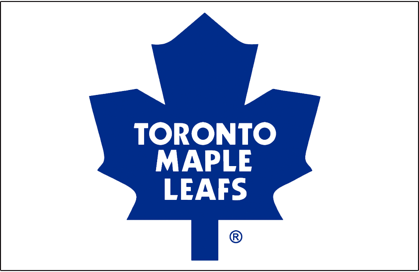Toronto Maple Leafs Logo Jersey Logo (1982/83-1986/87) - Blue modern maple leaf in a lighter shade, worn on Toronto Maple Leafs home white jersey from 1982-83 through 1986-87 SportsLogos.Net