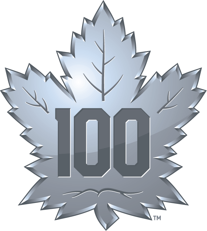 Toronto Maple Leafs Logo Anniversary Logo (2016/17) - Maple Leafs 100th Anniversary logo for their Centennial season 2016-17. SportsLogos.Net