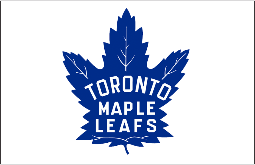 Toronto Maple Leafs Logo Jersey Logo (1938/39-1962/63) - Blue maple leaf on white, worn on Toronto Maple Leafs road white jersey from 1938-39 through 1962-63 SportsLogos.Net