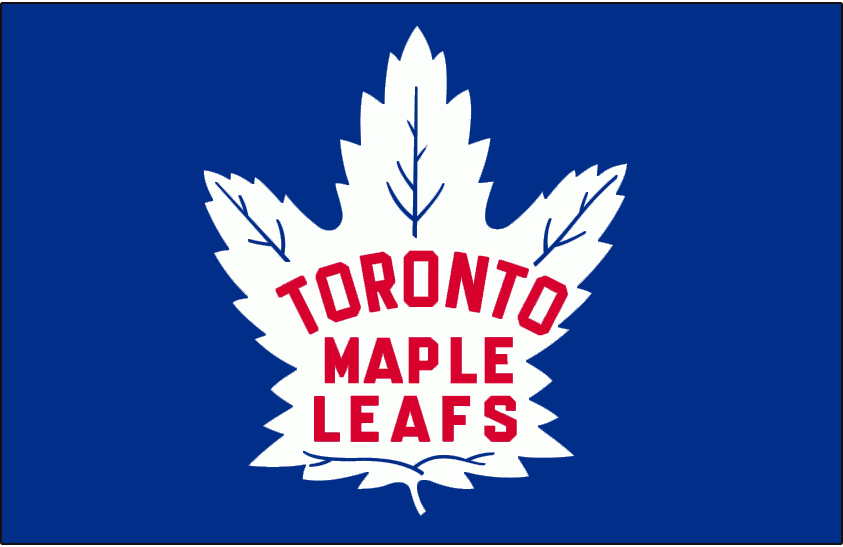 Toronto Maple Leafs Logo Jersey Logo (1945/46-1947/48) - White 35-point maple leaf with team name inside in red, worn on Toronto Maple Leafs home blue jersey from 1945-46 through 1947-48 SportsLogos.Net