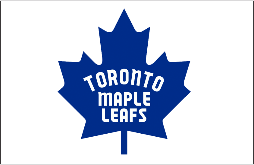 Toronto Maple Leafs Logo Jersey Logo (1966/67-1969/70) - Blue Canadian flag style maple leaf worn in celebration of Canada's centennial year (1967). First worn during the 1967 Stanley Cup playoffs and worn until end of 1969-70 season. SportsLogos.Net