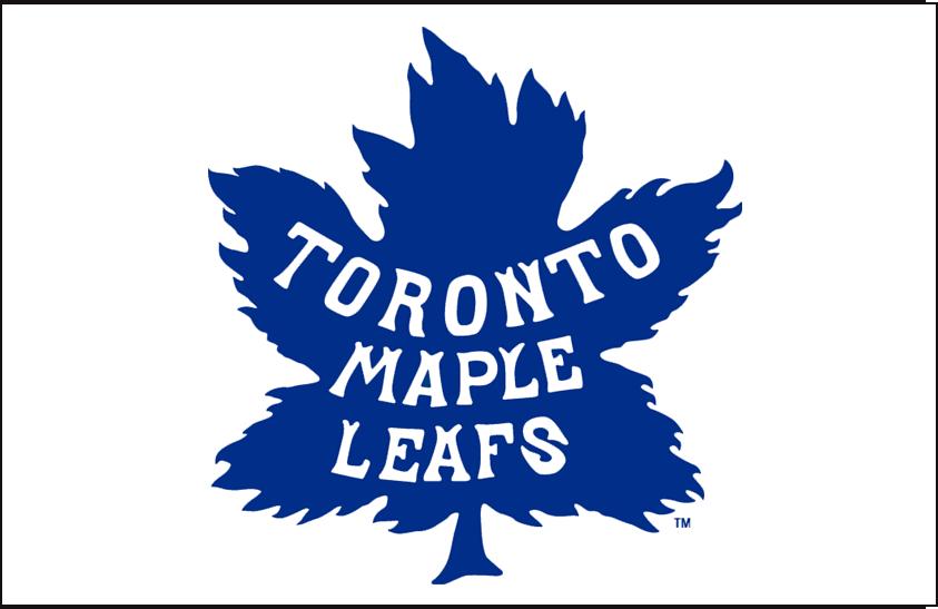 Toronto Maple Leafs Logo Jersey Logo (1927/28-1937/38) - Blue maple leaf on white, worn on Toronto Maple Leafs white clash jerseys from 1927-28 through 1937-38 seasons SportsLogos.Net