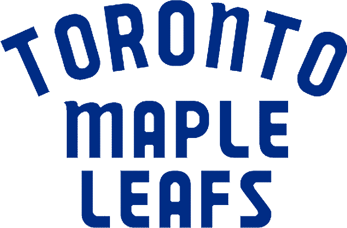 Toronto Maple Leafs Logo Wordmark Logo (1967/68-1969/70) - TORONTO arched over MAPLE LEAFS stacked in blue SportsLogos.Net