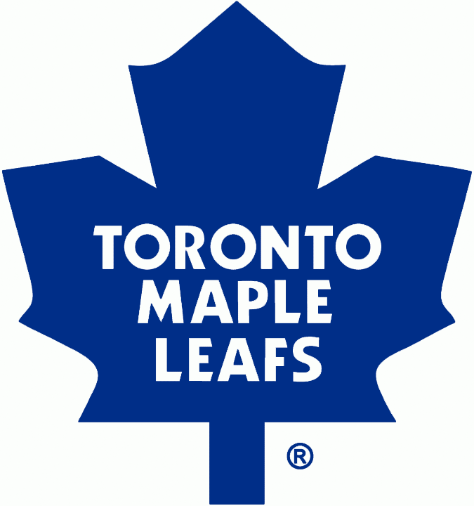 Toronto Maple Leafs Logo Primary Logo (1982/83-1986/87) - Maple leaf with more pointed features than previous 1971-1982 version, in 1987-88 the shade of blue was darkened slightly. SportsLogos.Net