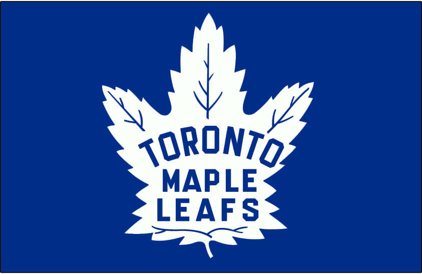 Toronto Maple Leafs Logo Jersey Logo (1948/49-1962/63) - White 35-point maple leaf with team name inside in blue, worn on Maple Leafs home blue jersey from 1938-39 until 1944-45. Worn again from 1948-49 through 1962-63. SportsLogos.Net